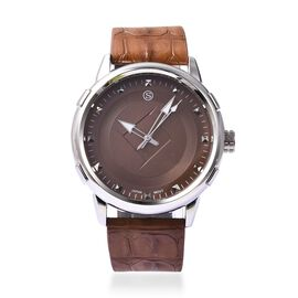 STRADA Japanese Movement Water Resistance Watch in Stainless Steel - Brown