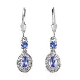Tanzanite and Cambodian Zircon Halo Drop Earrings in Platinum Plated Sterling Silver 1.10 Ct