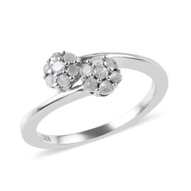 Diamond Floral Bypass Ring in Platinum Overlay Sterling Silver 0.25 Ct.