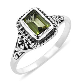 Royal Bali Collection - Hebei Peridot (Oct 7x5mm) Ring in Sterling Silver