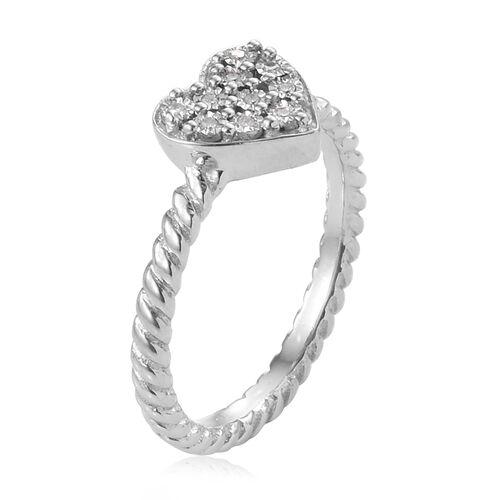 GP Diamond (Rnd), Kanchanaburi Blue Sapphire Heart Ring in Platinum Overlay Sterling Silver 0.070 Ct.