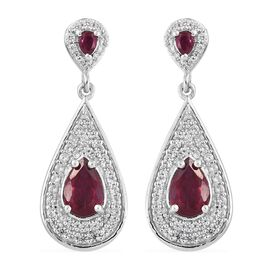 African Ruby (Pear), Natural Cambodian Zircon Earrings (with Push Back) in Platinum Overlay Sterling