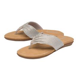 Dunlop Embellished Toe Post Slip on Flat Sandals (Size 3) - Silver