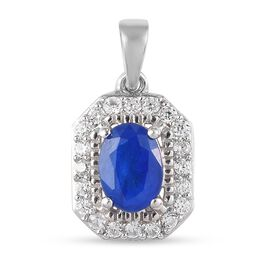 Tanzanian Blue Spinel and Natural Cambodian Zircon Pendant in Platinum Overlay Sterling Silver 1.40