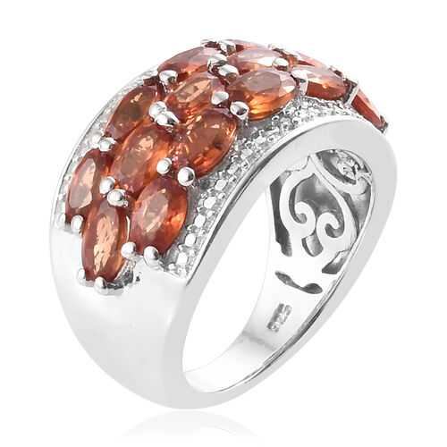Orange Sapphire (Ovl), Diamond Cluster Ring in Platinum Overlay Sterling Silver 4.500 Ct, Silver wt 6.81 Gms.