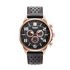 Swiss Military Hanowa Airman Chrono Analog Watch for Men in Black and Rose Gold Tone Dial