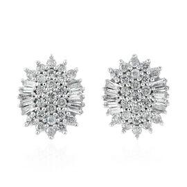 0.50 Carat Diamond Cluster Stud Earrings in 9K White Gold 1.85 Grams