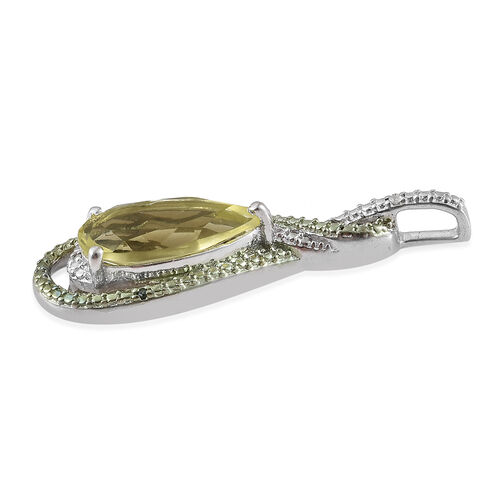 (Option 2) Natural Green Gold Quartz (Pear), Green and White Diamond Pendant in Platinum Overlay Sterling Silver 3.000 Ct.