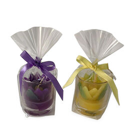 2 Piece Set - Purple and Yellow Tulip Candles in Glass (Size 5x4.5 Cm) - Tulip Yellow