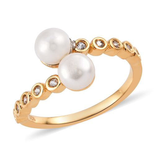 Freshwater Pearl (Rnd), Natural Cambodian Zircon Bypass Ring in 14K Gold Overlay Sterling Silver