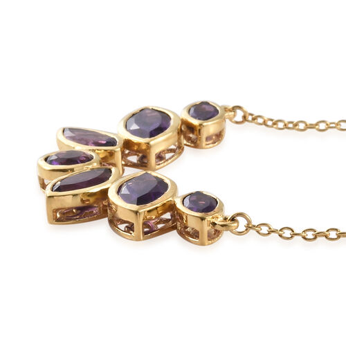 Amethyst (Mrq) Necklace with Chain (Size 18) and Stud Earrings (with Push Back) in 14K Gold Overlay Sterling Silver 9.500 Ct, Silver wt 8.80 Gms.
