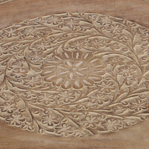 NAKKASHI Hand Craved Mango Wood Table with Floral Carvings and Jali Stand in Brown Colour