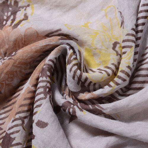 Beige Colour Flower and Stripe Pattern Scarf (Size 200x90 Cm)