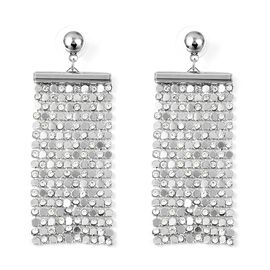 White Austrian Crystal (Rnd) Dangle Earrings (with Push Back) in Silver Tone