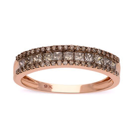 9K Rose Gold SGL Certified Natural Champagne Diamond (I3) Band Ring 1.00 Ct.