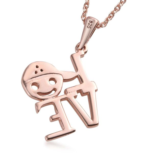 Diamond LOVE Pendant with Chain (Size 18) in Rose Gold Overlay Sterling Silver