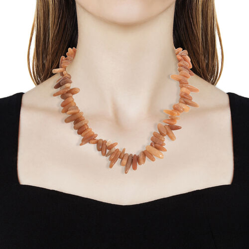 One Time Deal-Orange Aventurine Necklace (Size 20) in Platinum Overlay Sterling Silver   420.000 Ct.