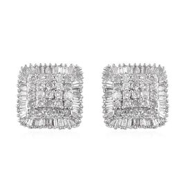 9K White Gold SGL CERTIFIED Diamond (Rnd and Bgt) (G-H/ I3) Stud Earrings (with Push back) 0.75 Ct.