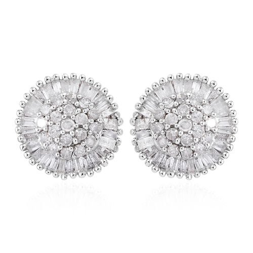 Diamond (Bgt and Rnd) Stud Earrings (With Push Back) in Platinum Overlay Sterling Silver 0.480 Ct, N