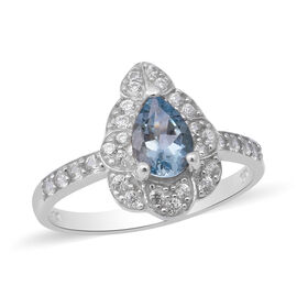 Santa Teresa Aquamarine and Natural Cambodian Zircon Ring in Rhodium Overlay Sterling Silver 1.15 Ct