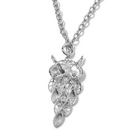 Austrian White and Black Crystal (Rnd) Owl Necklace (Size 29) in Silver Plated.