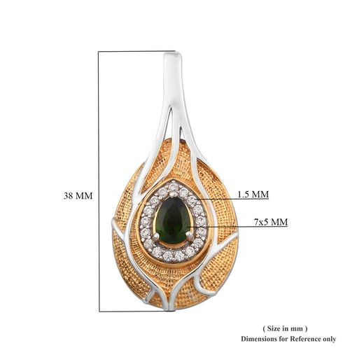 Russian Diopside and Natural Cambodian Zircon Pendant in Platinum and Yellow Gold Overlay Sterling Silver 1.18 Ct, Silver wt 5.00 Gms