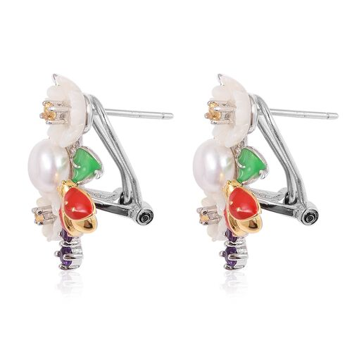 JARDIN COLLECTION - White Mother of Pearl, Fresh Water White Pearl, Amethyst and Multi Gemstone Enameled Floral Earrings (with French Clip)  in Rhodium and Gold Overlay Sterling Silver 5.21 Gms