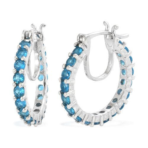 AA Malgache Neon Apatite (Rnd) Hoop Earrings (with Clasp Lock) in Platinum Overlay Sterling Silver 2