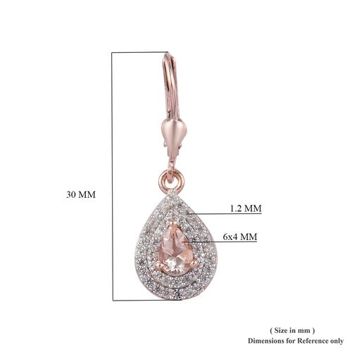 Marropino Morganite and Natural Cambodian Zircon Lever Back Drop Earrings in Rose Gold Overlay Sterling Silver 1.50 Ct.