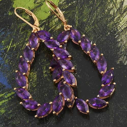 Amethyst (Mrq) Lever Back Drop Earrings in 14K Gold Overlay Sterling Silver 14.000 Ct.