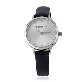 ETERNITY Swarovski Studded Sunray Dial Ladies Watch in Silver Tone with Genuine Leather Navy Strap