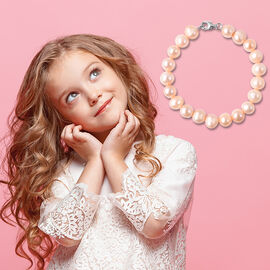 Peach Freshwater Pearl Bracelet (Size 6) with Lobster Lock in Rhodium Overlay Sterling Silver
