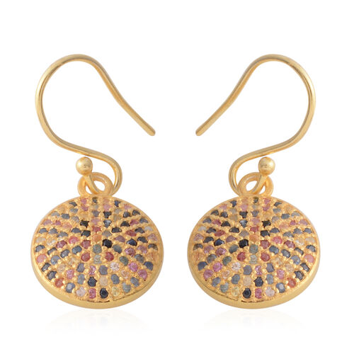 Rainbow Sapphire (Rnd) Micro Pave Set Hook Earrings in Yellow Gold Vermeil Sterling Silver 1.000 Ct.