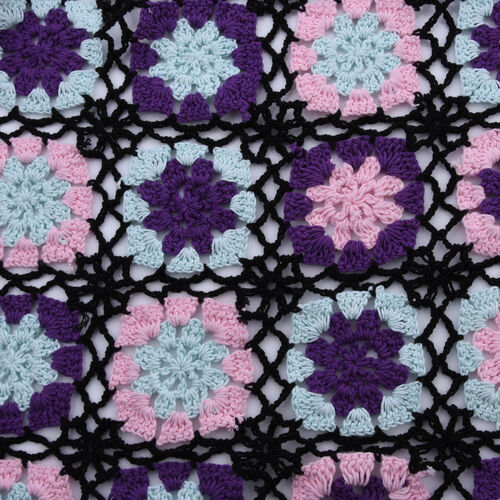 Limited Collection La Marey 100% Cotton Hand Crochet Black, Purple & Multi Colour Floral Shawl  (86x160x18cm)