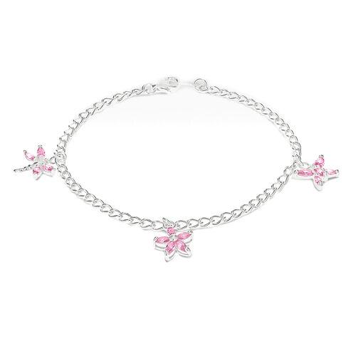 Charmes De Memoire Pink Zirconia Charm Bracelet in Sterling Silver 7.5 Inch