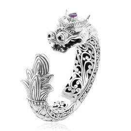 Royal Bali Collection - Pink Sapphire Dragon Hinged Cuff Bangle, (Size 7.5) in Sterling Silver, Silv