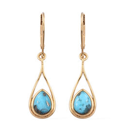 2.25 Ct Persian Turquoise Drop Earrings in Gold Plated Sterling Silver