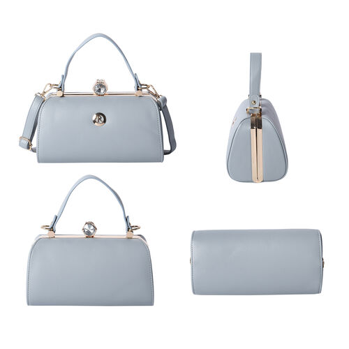 BOUTIQUE COLLECTION Grey Colour Clutch Bag with Detachable and Adjustable Shoulder Strap with Crystal Studded Top Knob (Size 26x13x14 Cm)