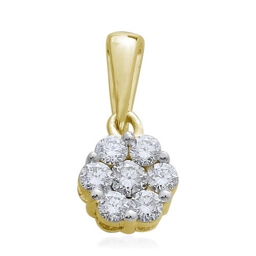 Limited Edition- 9K Y Gold SGL Certified Pressure-Set Diamond (Rnd) (I3/G-H) Floral Pendant 0.500 Ct.