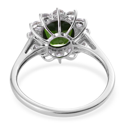 9K White Gold AA Russian Diopside (Ovl 9x7 mm), Natural Cambodian Zircon Floral Ring 2.50 Ct.