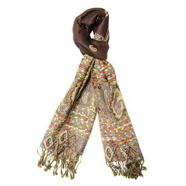 Brown and Multi Colour Paisley Pattern Tassel Scarf (Size 66x180+9 Cm)