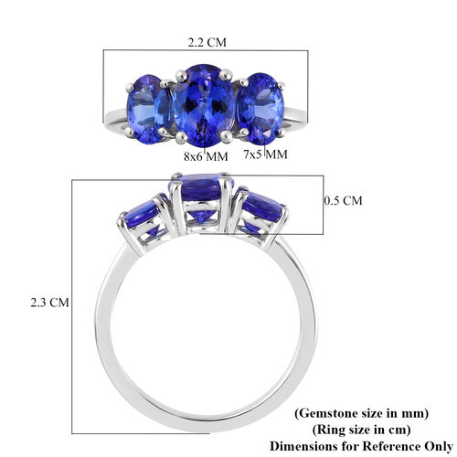 RHAPSODY 950 Platinum AAA Tanzanite Ring 3.25 Ct, Platinum wt. 4.50 Gms