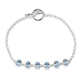 3 Ct Sky Blue Topaz Bracelet in Sterling Silver 4.09 Grams Size 7.5 Inch