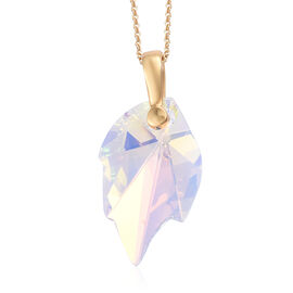 J Francis AB Crystal From Swarovski  Leaf Shape Pendant with Chain in Gold Plated Sterling Silver
