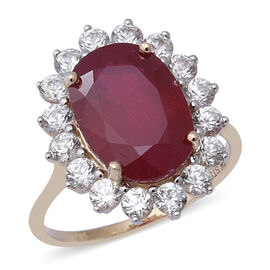 African Ruby (9.01 Ct),Cambodian White Zircon 9K Y Gold Ring  11.090  Ct.
