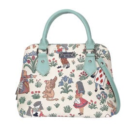 SIGNARE - Tapestry Alice in Wonderland Convertible Shoulder Bag with Removable Strap ( 36 x 23 x 12.