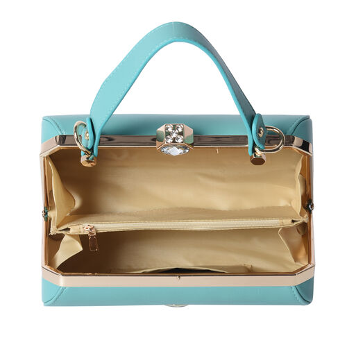 BOUTIQUE COLLECTION Green Colour Clutch Bag with Detachable and Adjustable Shoulder Strap with Crystal Studded Top Knob (Size 26x13x14 Cm)