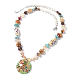 Murano Style Glass and Multi Colour Simulated Diamond Beads Necklace (Size 30 and 2 inch Extender)
