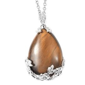 45 Carat Yellow Tiger Eye Floral Vine Drop Pendant with Chain in Stainless Steel 24 Inch