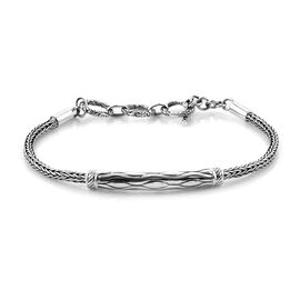Royal Bali Collection Tulang Naga Wave Bar Chain Bracelet Size 7.5 in Sterling Silver 10.80 Grams